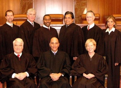 Official Group Photo of Texas Supreme Court - Members as of Nov 2009 including Eva Guzman