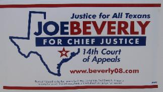 Joe Beverly Election Campaign Sign in Appellate Court Race